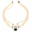 Traditional Gold Plated White Pearl Multi Strand Fashion Nec