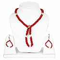Gold Plated Red Stone Fashion Jewelleryl Women's Pearl Neckl