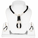Gold Plated Women's Fashion Black Stone and White Pearl Neck
