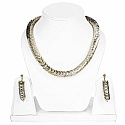 Two Tone Plated Women's Fashion Golden Choker Necklace and E