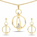 Gold Plated Women's Fashion White Crystal Stone Pendant and
