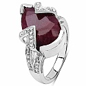 3.50CTW 12x8mm Pear Shape Dyed Ruby .925 Sterling Silver Sol