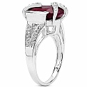 4.00CTW 11x9mm Oval Shape Dyed Ruby .925 Sterling Silver Sol