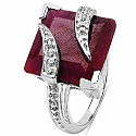 20.90CTW 15.00mm Square Shape Dyed Ruby .925 Sterling Silver