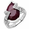 4.25CTW 11x8mm Pear Shape Dyed Ruby .925 Sterling Silver Sol