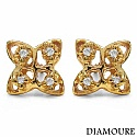 0.12CTW Genuine White Diamond 10K Yellow Gold Earrings
