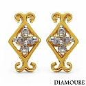 0.10CTW Genuine White Diamond 10K Yellow Gold Earrings