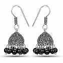 Oxidised Plated Brass Jhumki Earrings Adorned with Black Sto