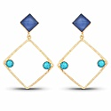 Gold Plated Contemporary Fancy Dangle Earrings Studded With