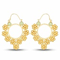 Gold Plated Contemporary Floral Style Hoop Earrings Studded
