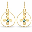 Gold Plated Contemporary Floral Style Dangle Drop Earrings S