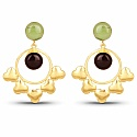 Gold Plated Contemporary Exquisite Dangle Earrings Studded W