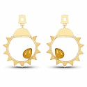 Gold Plated Contemporary Star Shape Hoop Earrings Studded Wi