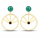 Gold Plated Contemporary Dangle Earrings Studded With Green