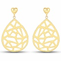 Gold Plated Contemporary Heart & Drop Style Dangle Earrings