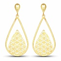 Gold Plated Contemporary Jali Style Dangle Earrings For Wome