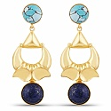Designer Gold Plated Fashion Blue Dangle Drop Earrings for W