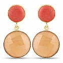 Designer Gold Plated Fashion Orange Coral Dangle Drop Earrin
