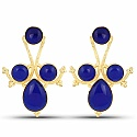 Designer Gold Plated Fashion Blue Dangler Earrings for Women