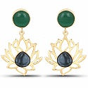Designer Gold Plated Fashion Floral Shape Green Dangler Earr