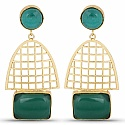 Designer Gold Plated Fashion Green Dangler Earrings for Wome