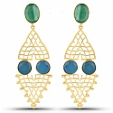Designer Gold Plated Fashion Green & Blue Dangler Earrings f