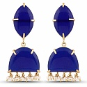 Designer Gold Plated Fashion Blue Dangler Drop Earrings for