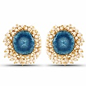 Gold Plated Blue Drusy Studded Pearl Stud Earrings for Women