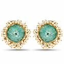 Gold Plated Green Drusy Studded Pearl Stud Earrings for Wome