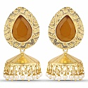Gold Plated Yellow Stone Studded Ethnic Pearl Drop Jhumka fo