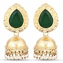 Gold Plated Green Stone Studded Ethnic Pearl Drop Jhumka for