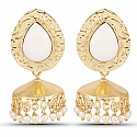 Gold Plated White Stone Studded Ethnic Pearl Drop Jhumka for