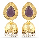 Gold Plated Purple Stone Studded Ethnic Pearl Drop Jhumka fo