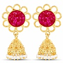 Gold Plated Red Drusy Studded Ethnic Pearl Drop Jhumka for W