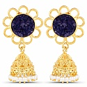 Gold Plated Blue Drusy Studded Ethnic Pearl Drop Jhumka for