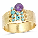 Gold Plated Bangle Bracelet For Women Studded with Amethyst,