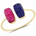 Gold Plated Exquisite Blue Drusy Brass Hand Cuffs for Women