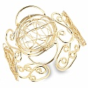 Antique Gold Plated Wired Brass Hand Cuff Bracelet for Women