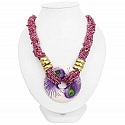 Two Tone Boho Fashion Pink Beaded Handmade Statement Necklac
