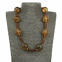 Oxidised Brown Beaded Handmade Boho Statement Necklace for W