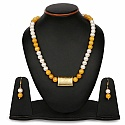 Yellow Stone Gold Plated Brass Pearl Necklace Set