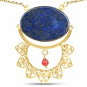 Gold Plated Designer Blue Lapis Lazuli Solitaire Fashion Pen