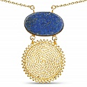 Gold Plated Solitaire Blue Lapis Lazuli Exquisite Fashion Pe