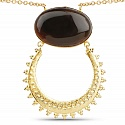 Gold Plated Solitaire Brown Onyx Designer Fashion Pendant fo