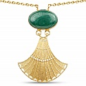 Gold Plated Solitaire Green Malachite Exquisite Fashion Pend