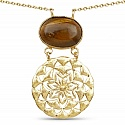 Gold Plated Solitaire Brown Tiger Eye Exquisite Floral Fashi
