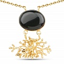 Gold Plated Solitaire Black Onyx Exquisite Floral Fashion Pe