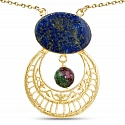 Gold Plated Solitaire Blue Lapis Lazuli Exquisite Fashion Dr