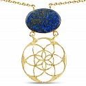 Gold Plated Solitaire Blue Lapis Lazuli Floral Exquisite Fas
