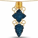 Gold Plated Exquisite Blue Drusy Brass Floral Shape Pendant